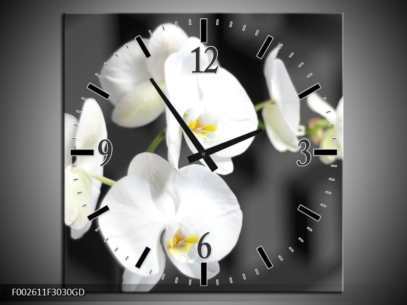 Wandklok op Glas Orchidee   Kleur: Zwart, Wit, Grijs   F002611CGD