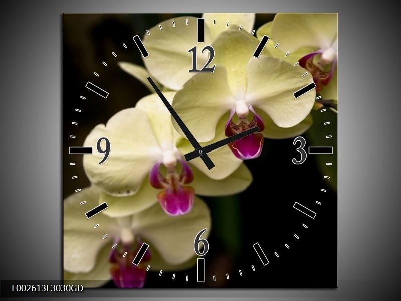 Wandklok op Glas Orchidee | Kleur: Geel, Paars, Zwart | F002613CGD