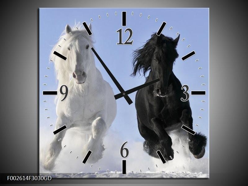 Wandklok op Glas Paarden | Kleur: Wit, Zwart, Blauw | F002614CGD