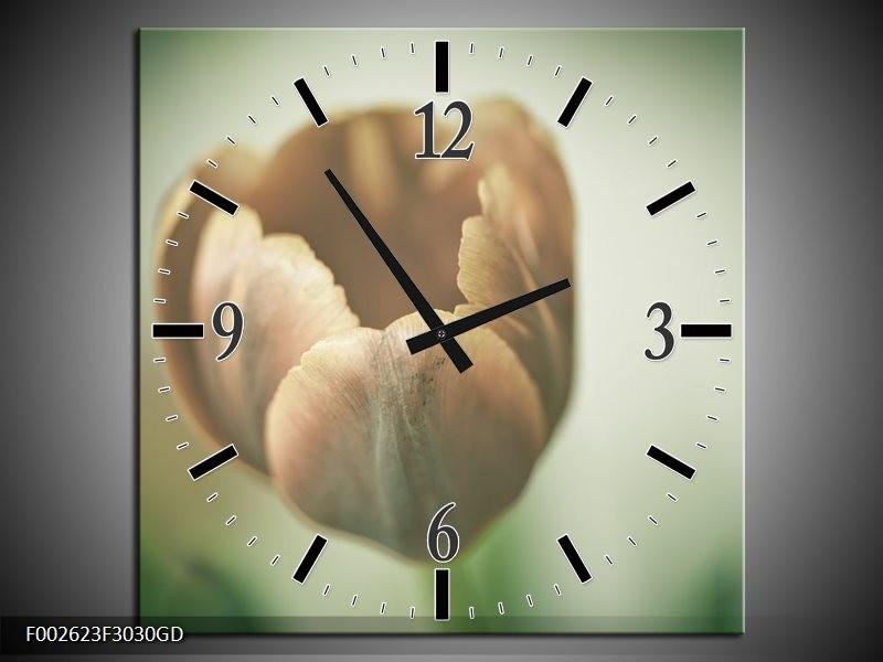 Wandklok op Glas Tulp   Kleur: Grijs, Groen, Wit   F002623CGD