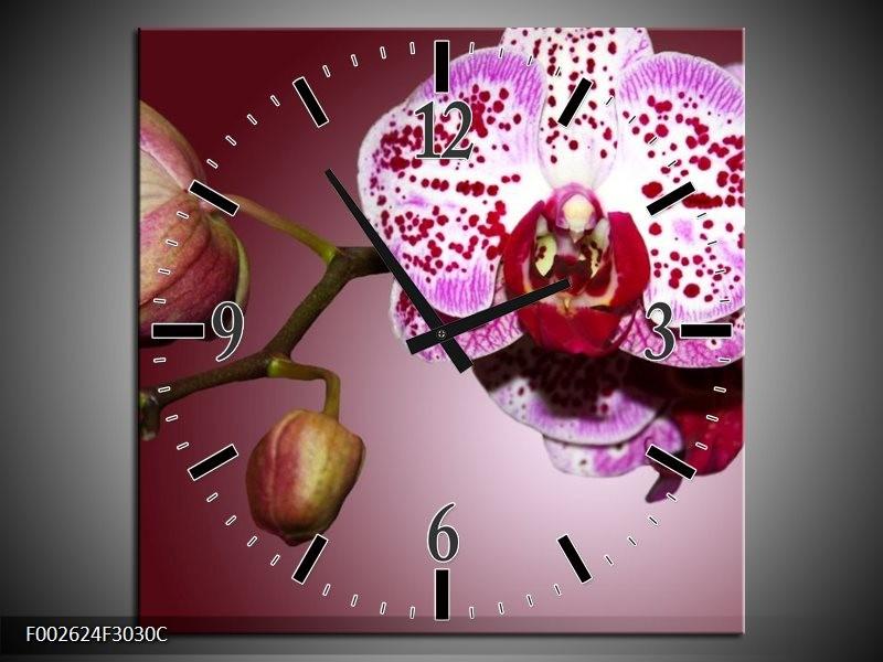 Wandklok op Canvas Orchidee | Kleur: Paars, Wit | F002624C