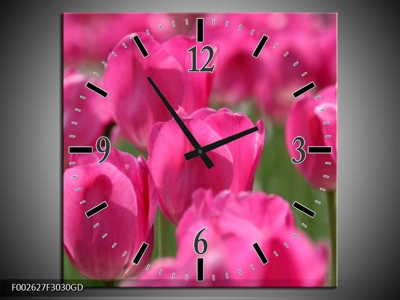 Wandklok op Glas Tulp   Kleur: Roze, Groen   F002627CGD