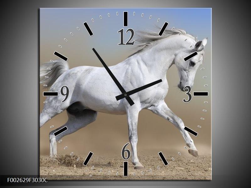 Wandklok op Canvas Paard | Kleur: Wit, Grijs | F002629C