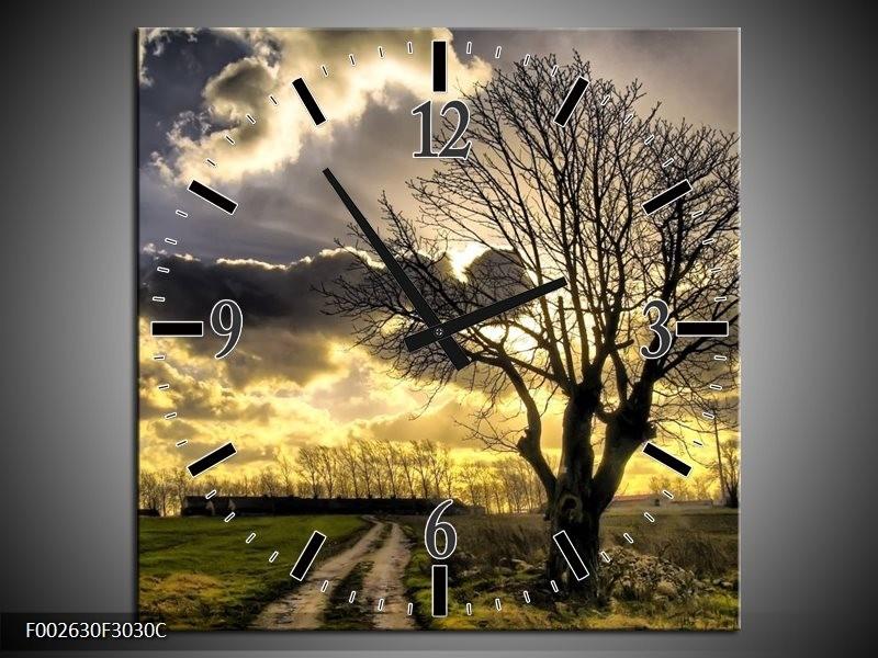Wandklok op Canvas Natuur   Kleur: Grijs, Geel, Zwart   F002630C
