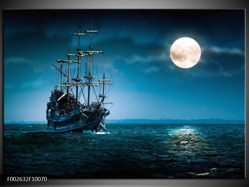 Foto canvas schilderij Boot   Blauw, Wit, Zwart
