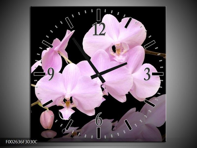 Wandklok op Canvas Orchidee | Kleur: Roze, Wit, Zwart | F002636C