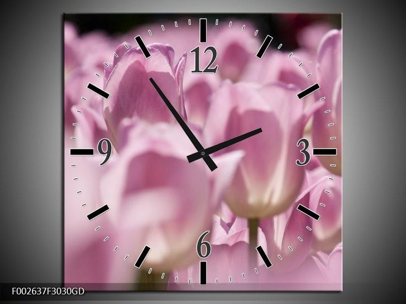 Wandklok op Glas Tulpen | Kleur: Roze, Wit | F002637CGD
