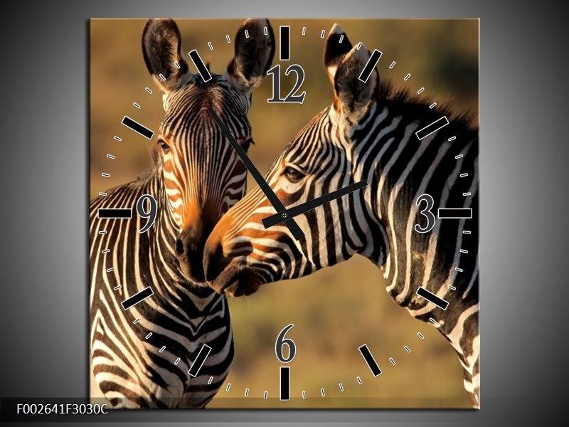 Wandklok op Canvas Zebra | Kleur: Zwart, Wit, Bruin | F002641C