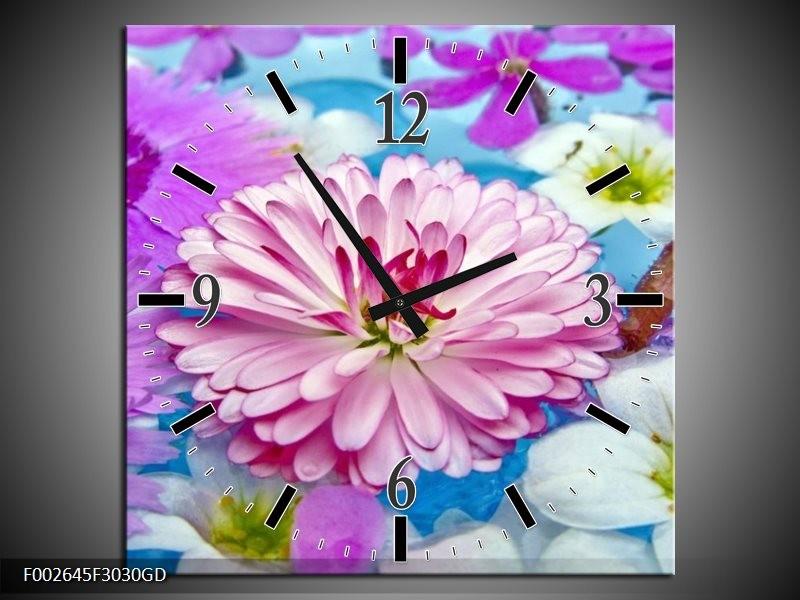 Wandklok op Glas Bloem | Kleur: Paars, Wit, Rood | F002645CGD