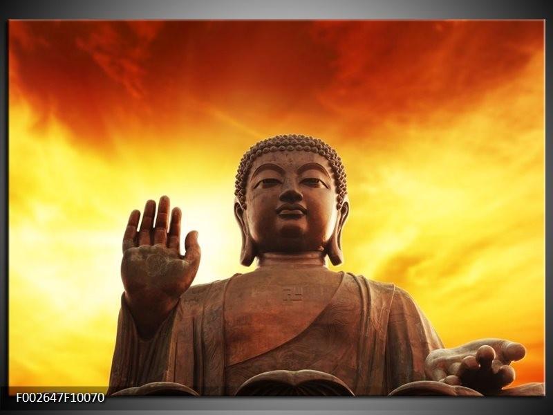 Foto canvas schilderij Boeddha | Geel, Bruin, Oranje
