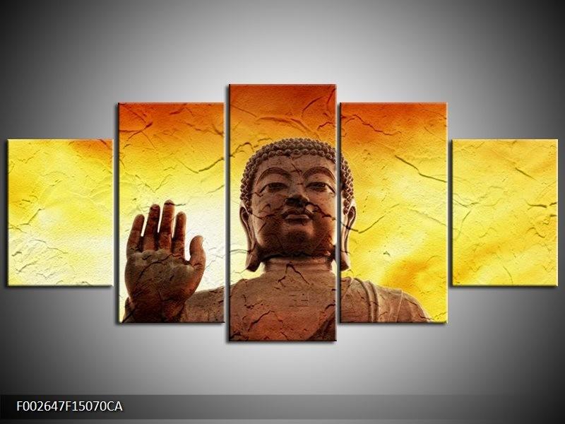 Canvas ART schilderij Boeddha | Geel, Bruin, Oranje | 150x70cm 5Luik