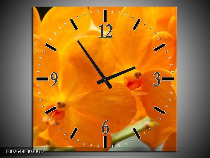 Wandklok op Glas Orchidee | Kleur: Oranje, Geel | F002648CGD
