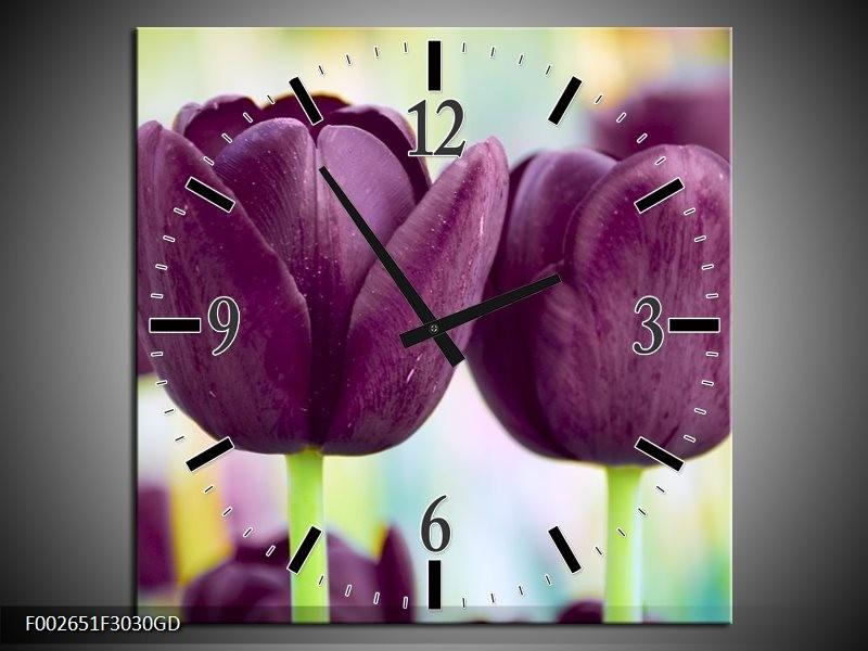 Wandklok op Glas Tulp | Kleur: Paars, Groen | F002651CGD