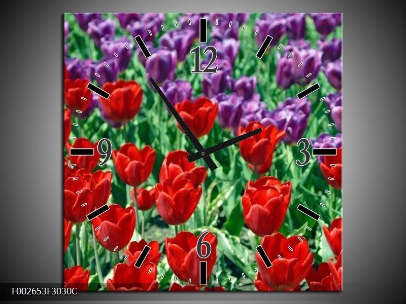 Wandklok op Canvas Tulp | Kleur: Rood, Paars, Groen | F002653C