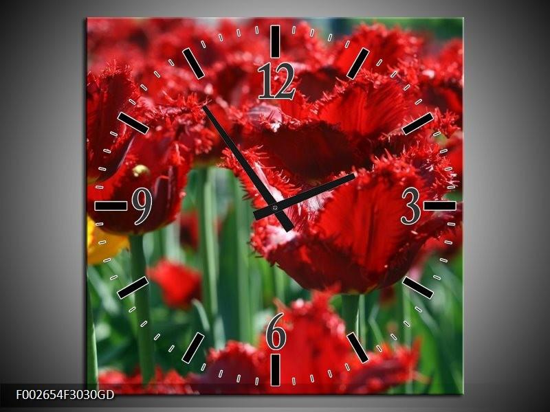 Wandklok op Glas Tulp | Kleur: Rood, Groen, Geel | F002654CGD