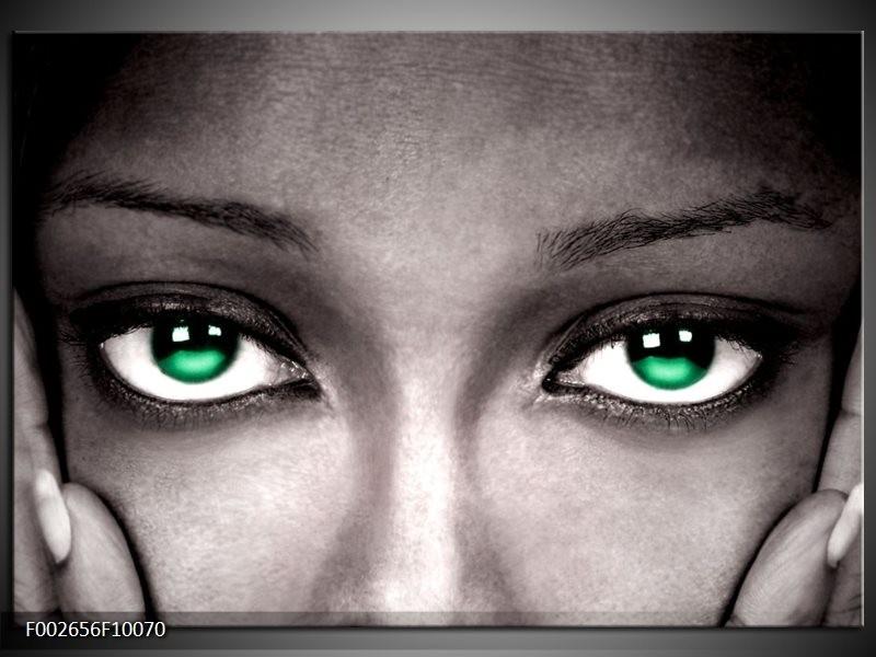 Foto canvas schilderij Ogen | Groen, Zwart, Grijs