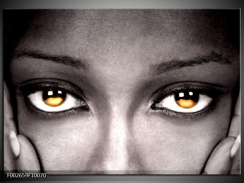 Foto canvas schilderij Ogen | Zwart, Oranje