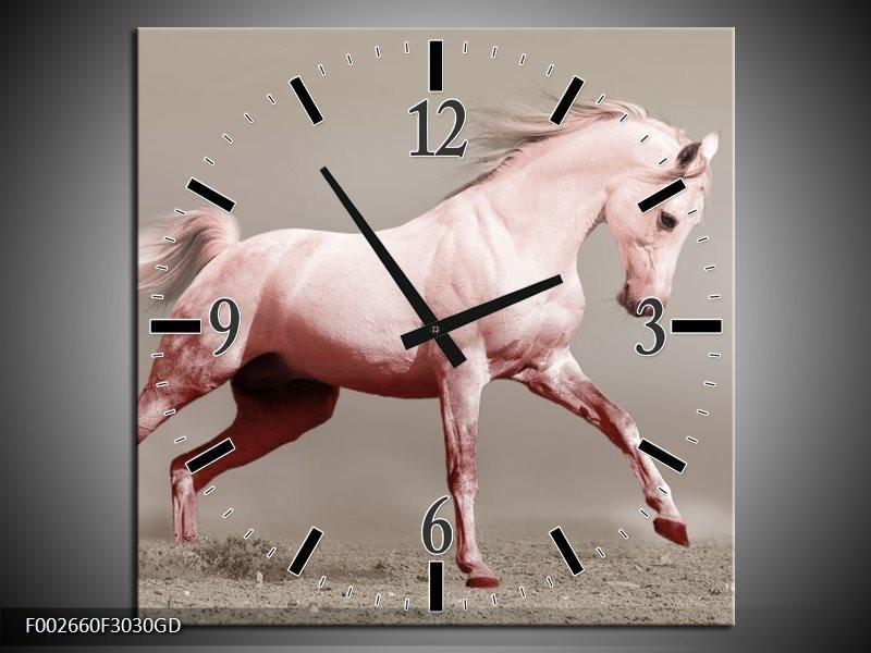 Wandklok op Glas Paard | Kleur: Roze, Bruin, Grijs | F002660CGD