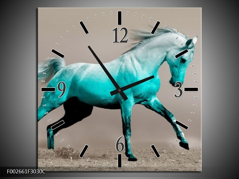 Wandklok op Canvas Paard   Kleur: Groen, Grijs   F002661C
