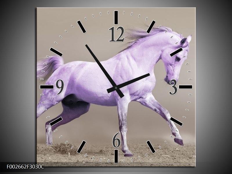 Wandklok op Canvas Paard | Kleur: Paars, Grijs | F002662C