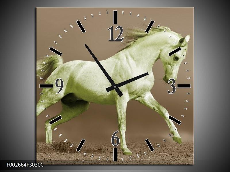 Wandklok op Canvas Paard | Kleur: Groen, Bruin | F002664C