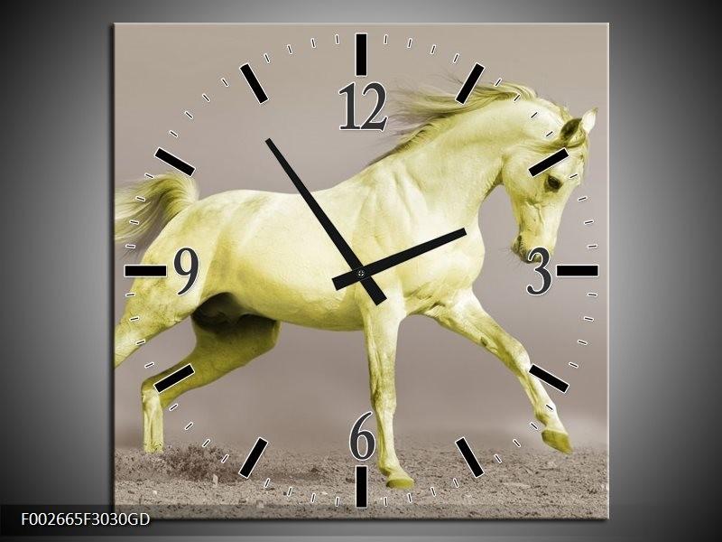 Wandklok op Glas Paard | Kleur: Groen, Grijs | F002665CGD