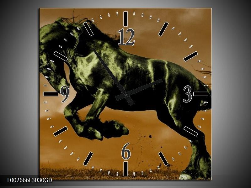 Wandklok op Glas Paard | Kleur: Bruin, Groen, Zwart | F002666CGD