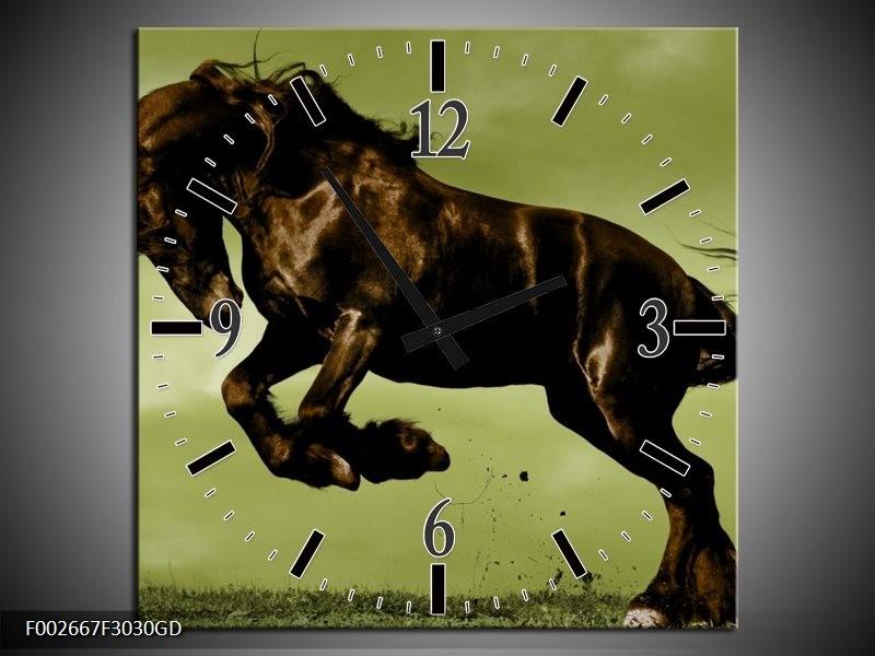 Wandklok op Glas Paard   Kleur: Bruin, Groen, Zwart   F002667CGD
