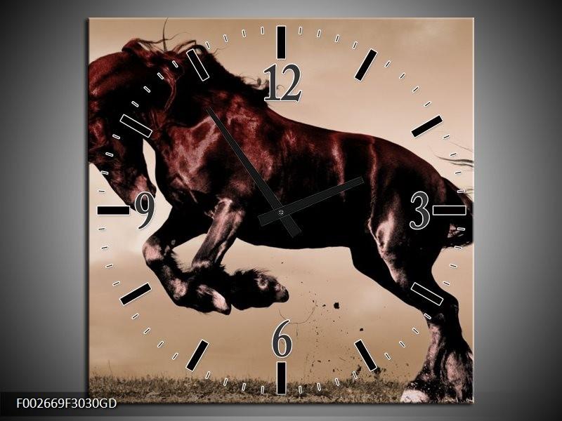 Wandklok op Glas Paard | Kleur: Bruin, Grijs, Zwart | F002669CGD