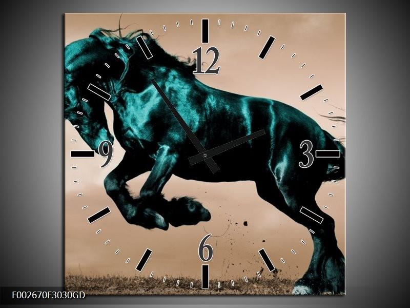 Wandklok op Glas Paard | Kleur: Bruin, Blauw, Zwart | F002670CGD