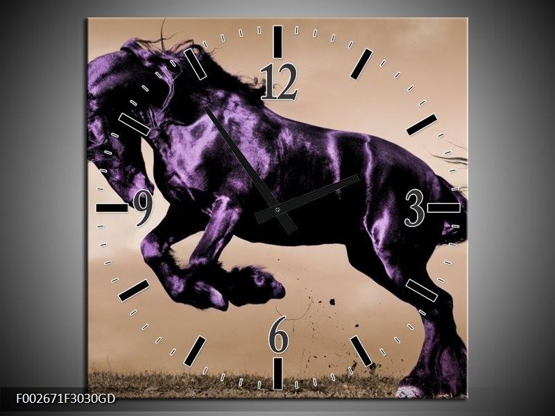 Wandklok op Glas Paard   Kleur: Paars, Grijs, Zwart   F002671CGD