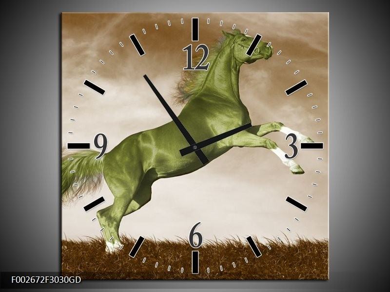 Wandklok op Glas Paard | Kleur: Groen, Bruin | F002672CGD