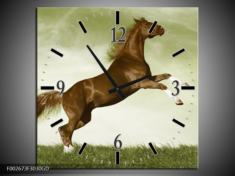 Wandklok op Glas Paard | Kleur: Bruin, Groen, Zwart | F002673CGD