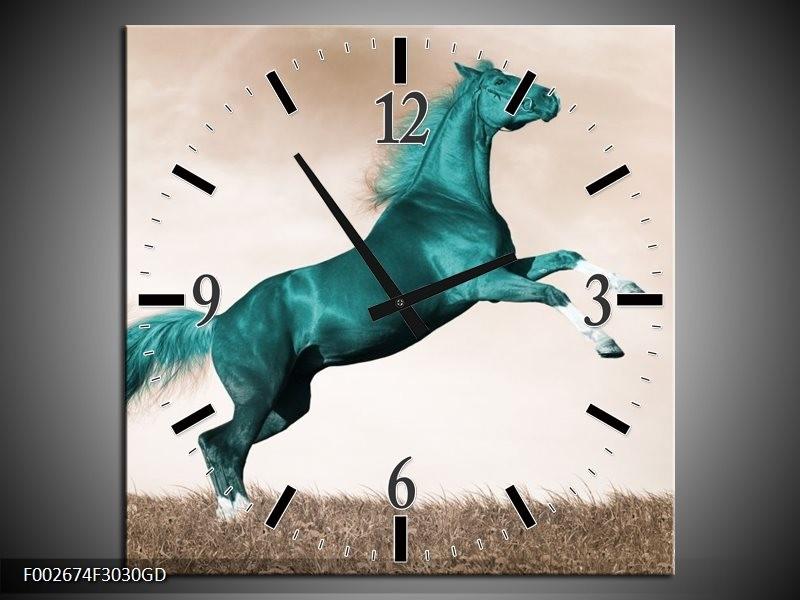 Wandklok op Glas Paard | Kleur: Groen, Sepia | F002674CGD