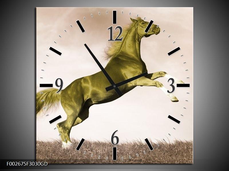Wandklok op Glas Paard   Kleur: Sepia, Groen, Goud   F002675CGD