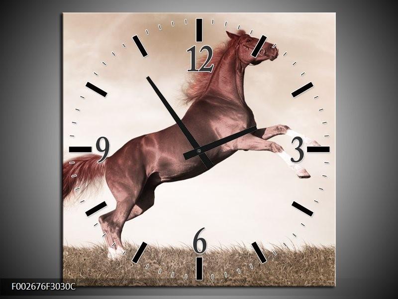 Wandklok op Canvas Paard   Kleur: Sepia, Bruin, Rood   F002676C