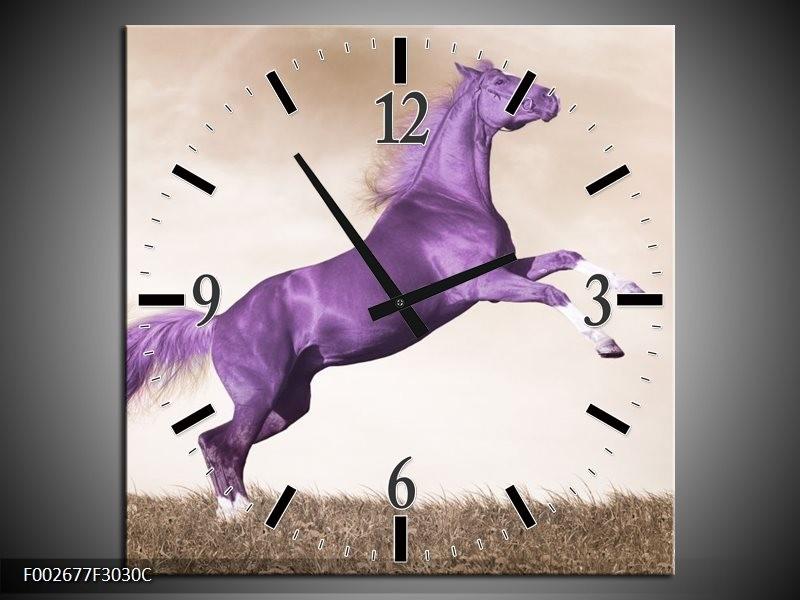 Wandklok op Canvas Paard | Kleur: Paars, Sepia | F002677C