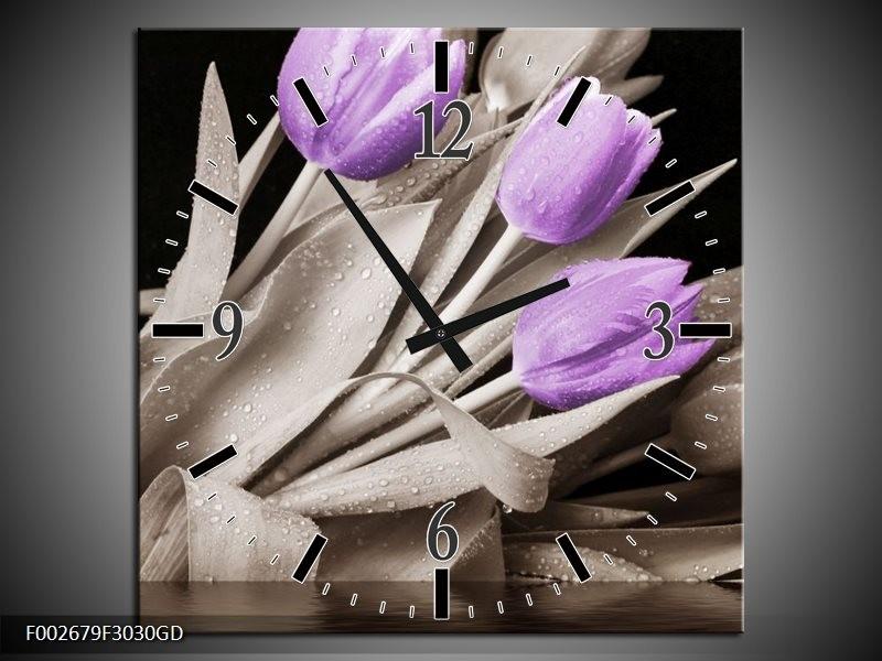 Wandklok op Glas Tulp | Kleur: Paars, Zwart, Grijs | F002679CGD