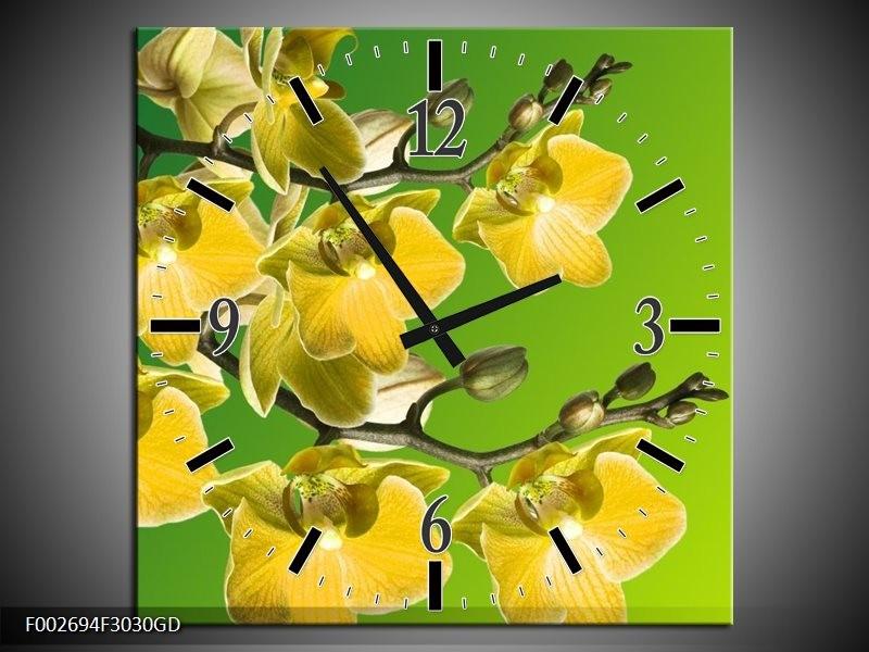 Wandklok op Glas Orchidee | Kleur: Geel, Groen, Wit | F002694CGD