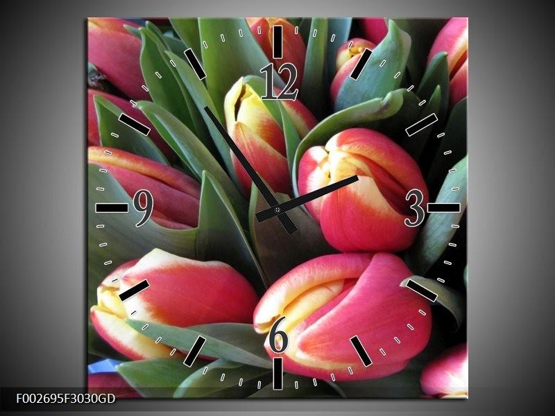 Wandklok op Glas Tulp | Kleur: Roze, Groen, Geel | F002695CGD