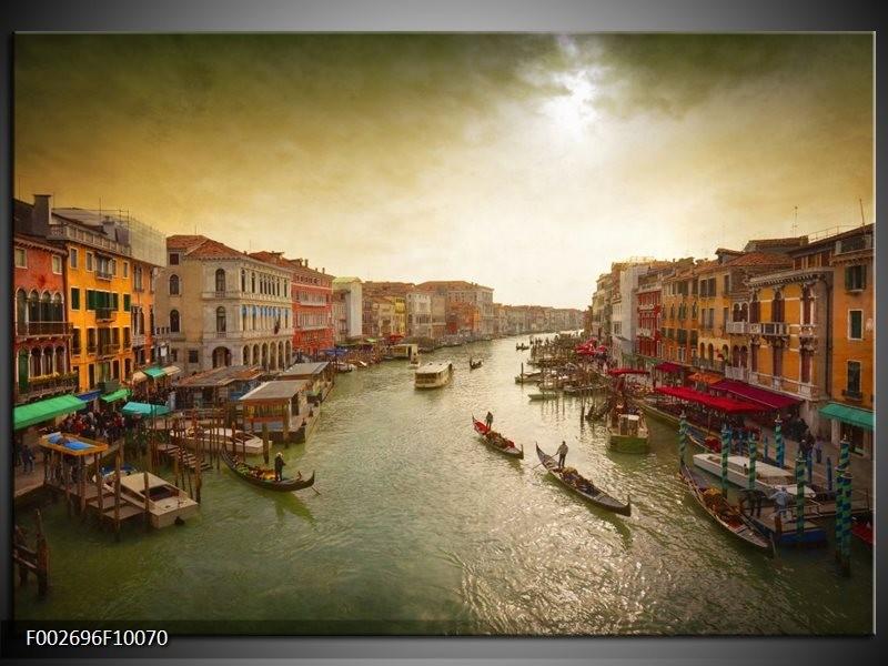 Foto canvas schilderij Venetie | Grijs, Geel