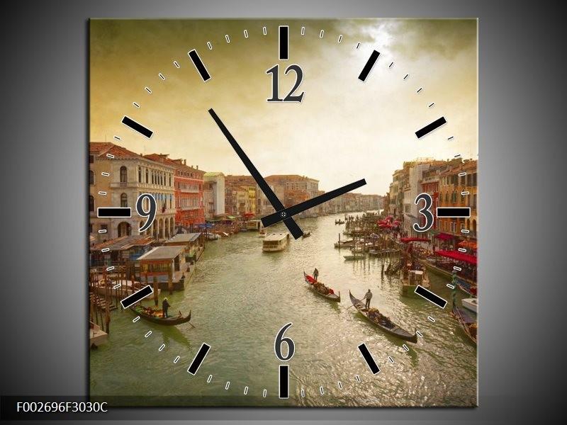 Wandklok op Canvas Venetie   Kleur: Grijs, Geel   F002696C