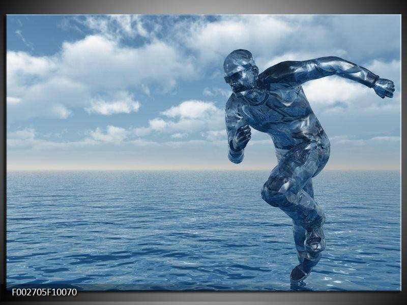 Foto canvas schilderij Water | Wit, Blauw