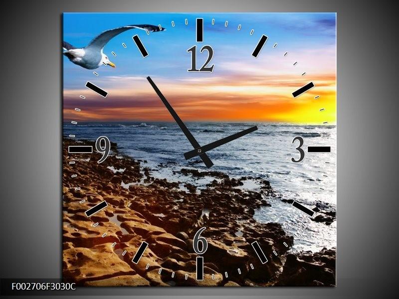 Wandklok op Canvas Zee | Kleur: Bruin, Blauw, Geel | F002706C