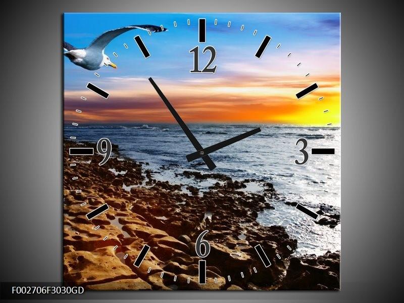 Wandklok op Glas Zee | Kleur: Bruin, Blauw, Geel | F002706CGD