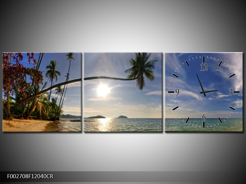 Klok schilderij Natuur | Wit, Geel, Blauw | 120x40cm 3Luik