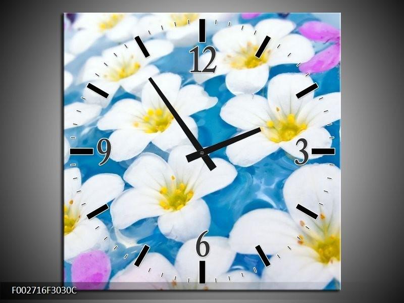Wandklok op Canvas Bloemen | Kleur: Blauw, Wit, Geel | F002716C