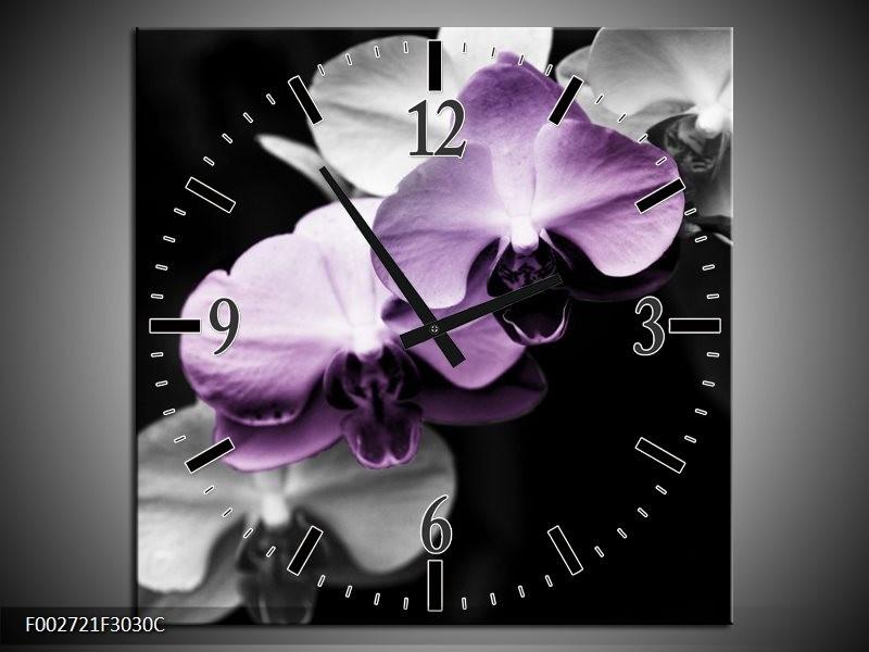 Wandklok op Canvas Orchidee | Kleur: Paars, Zwart, Grijs | F002721C