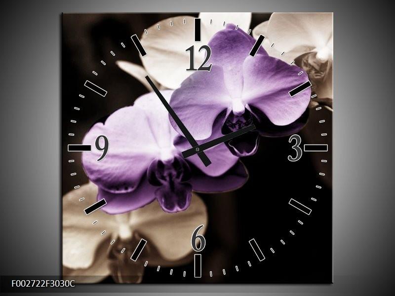 Wandklok op Canvas Orchidee | Kleur: Paars, Zwart, Grijs | F002722C