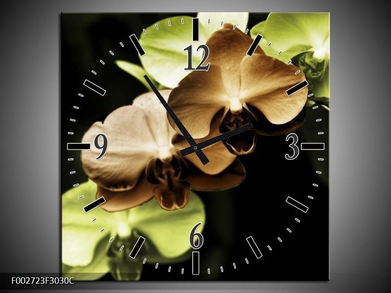 Wandklok op Canvas Orchidee | Kleur: Groen, Bruin, Zwart | F002723C
